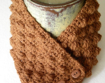 Cocoa Brown Neck Warmer, Buttoned Cowl, Crochet Neck Wrap, Dickie, NW140-01