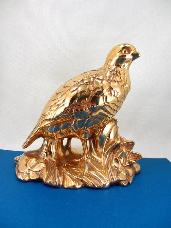 Brilliant copper vintage ceramic bird figurine. Autumn fall decoration. Thanksgiving table centerpiece