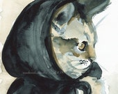 cat art- little Inky Riding hood print of watercolor