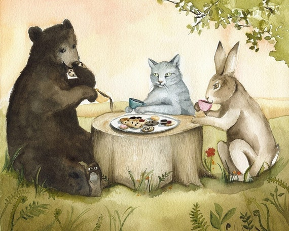 "Cat, Bear, Rabbit ""Tea Party"", children, cat, bear, rabbit art"