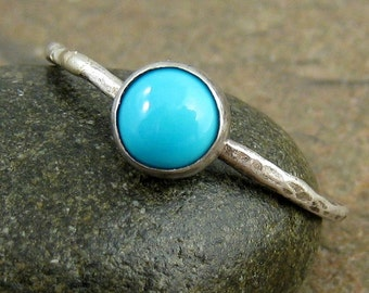 Sleeping Beauty Turquoise Ring, Turquoise Stacking Ring, Birthstone Stacking Ring, Stackable Ring, Hammered Silver Ring, 6mm Organikx