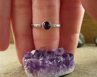 Purple Amethyst Ring, Oxidized Hammered Sterling Silver Stacking Ring, Amethyst Jewelry, February Birthday Birthstone, Purple Stone