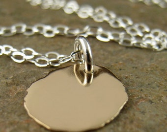 Solid Gold Disc Necklace with Sterling Silver Chain, 14K Solid Yellow Gold Carat KT CT Gold Pendant Recycled Gold Forged Fabricated Handmade