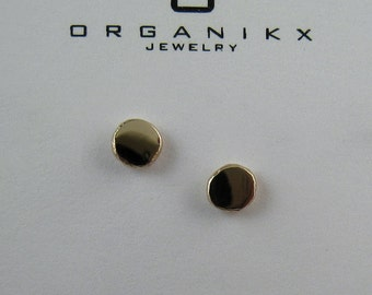 Tiny Gold Stud Earrings With Sterling Silver Post, 14k Gold Pebble Earrings, Small Gold Studs, Gold Dot Studs, Minimal Earrings Organikx