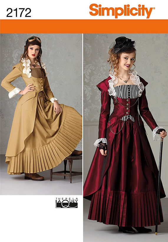 Diy Sewing Pattern-Simplicity 2172-Steampunk Coat, Corset and Skirt-Plus Size