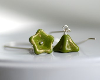 Olive Green Glass Earrings, Gold Speckled Flowers on Sterling Silver, Green Earrings, Earthy Jewerly, Autumn Earrings - Posies