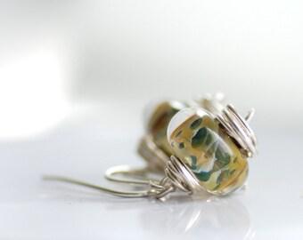 Sage Green Boro Glass Earrings, Green Earrings, Woodland, Boro Glass Jewelry, Nature Jewelry,  Sterling Silver - Leap