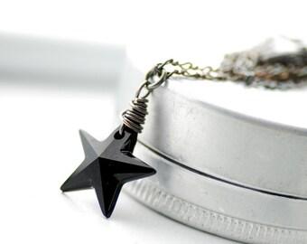 Crystal Star Necklace, Ebony Black Star Pendant, Swarovski Elements, Oxidized Sterling Silver, Holiday Necklace, Pendant Necklace - Night