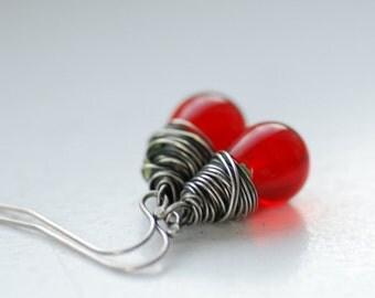 Red Glass Earrings, Red Wedding, Dangle Earrings, Oxidized Sterling Silver, Bridesmaid Earrings