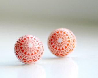 Stud Earrings, Tangerine Orange Post Earrings, Lucite Jewelry, Scandinavian Design, Nordic, Simple Studs