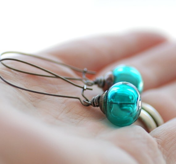 Teal Earrings, Glass Jewelry, Dangle Earrings, Teal Artisan Glass, Made in Canada, Beach Wedding Jewelry - Evergreen