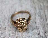 Scarab Jewelry - Art Deco Egyptian Revival Scarab Ring - Brass