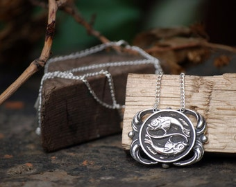 Pisces Medallion Necklace - Astrological Zodiac Sign Pendant - Sterling Silver or Brass