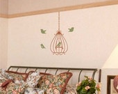 Wall Decal - Scrolled Birdcage with bell and birds flying around vinyl wall art sticker graphic