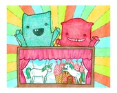 Monster Puppeteers Unicorn Theater 8x10 Print