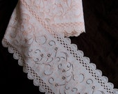 "stretch floral lace with two scalloped edges, peaches and cream, 6 7/8"" extra wide"