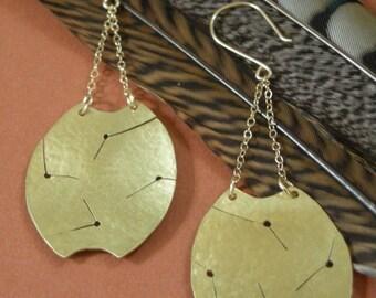 Ankara Earrings - hammered & cut brass earrings