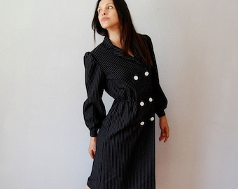 15% off CouponCode Fifteen vintage OFFICE dress /  1980s double breasted SECRETARY dress