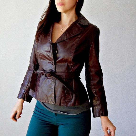 leather SANGRIA belted jacket / 1970s smooth shrunken leather jacket