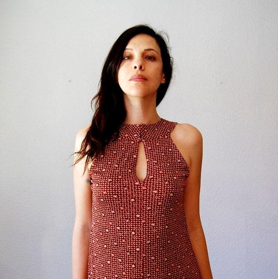 vintage CONFETTI maxi dress /  1970s KEYHOLE geometric print dress