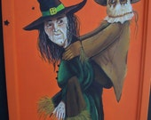 REDUCED Original Halloween Folk Art Painting Funny Witch and Scarecrow Haguild PRETTY AWFUL Etsy 2 Treasury Lists