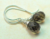 Smokey Quartz Wrapped Wire Sterling Silver Dangle Earrings