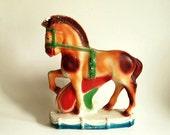 reserved for Marion -- Vintage Statue Carnival Chalkware Statue Animal Horse Carnival Prize Orange Green