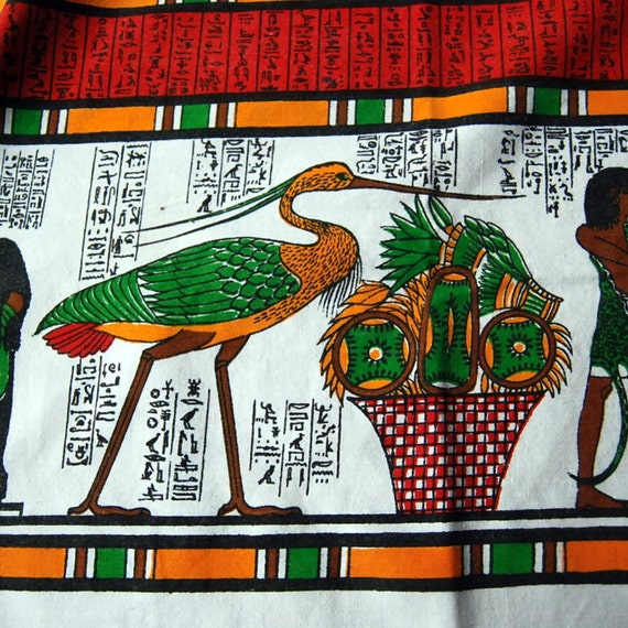 Sale, Vintage Tablecloth, Linen Table Cloth, Egyptian, 56 x 80 inches Red Green Gold Christmas in July