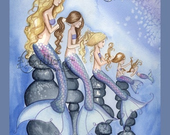 My Mermaid Girls Family Print from Original Watercolor Painting by Camille Grimshaw