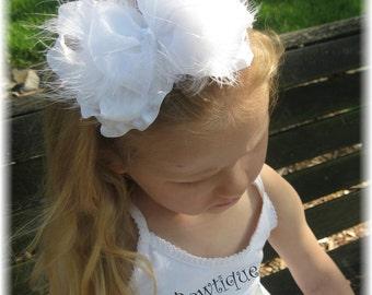 White baby headband, marabou feather headband, wedding headband, flower girl headband, double ruffle hair bows, Baptism bows, Christening