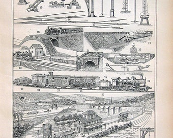 Railways Print: Antique French Dictionary Book Plate Print 1908 Larousse