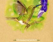 Hummingbird Greeting Card  Great for Mothers Day!  5 x 7 inches