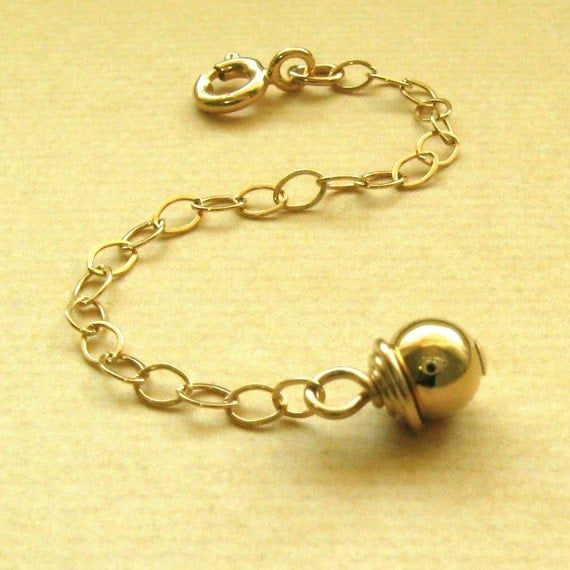 14k gold filled extender chain with shiny bead coil and clasp item