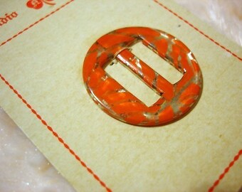 CELLULOID LIFE - vintage 1930s orange and silver deco celluloid belt buckle - New Old Stock