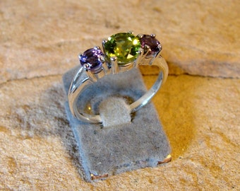 70% OFF Going Out of Business Sale.. .Classic Setting Sterling Silver Ring with Genuine Peridot and Amethyst- size 6.5