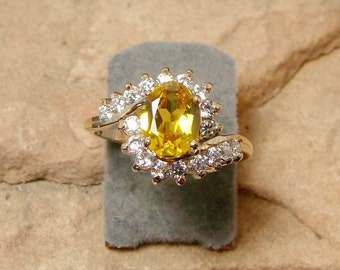 Golden Topaz Ring 10k Gold- READY TO SHIP - Size 6.25