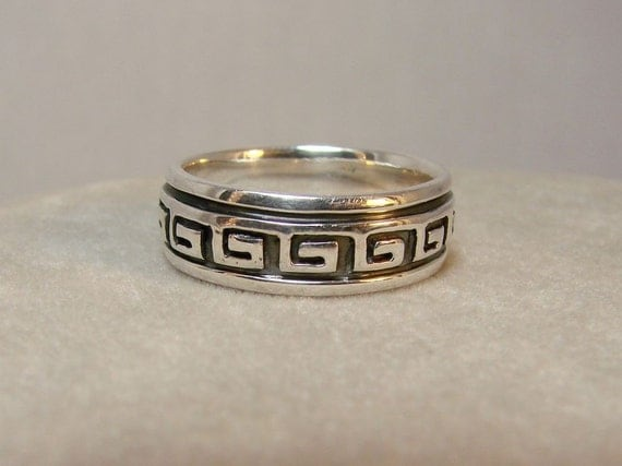 Greek Key - Sterling Silver Ring - Available for Inside Engraving -101