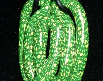 Green Tree Python Snake Pendant Striking Green and Yellow Scales Charm 3