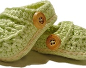Crochet baby booties, crochet baby shoes, Pistachio crib shoes, Crochet baby slippers, baby boy booties - 2kute