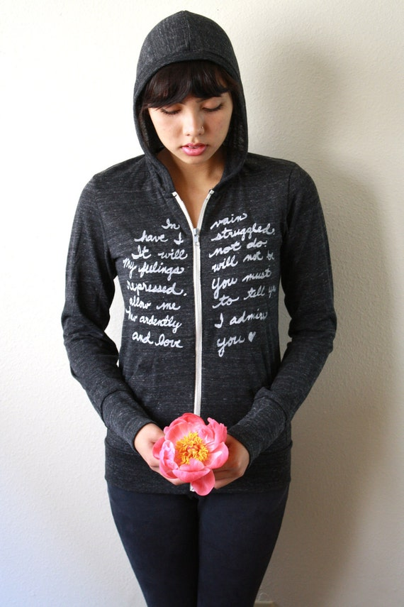 Mr. Darcy's Proposal/Pride and Prejudice. SMALL Zip Hoodie in Eco Black
