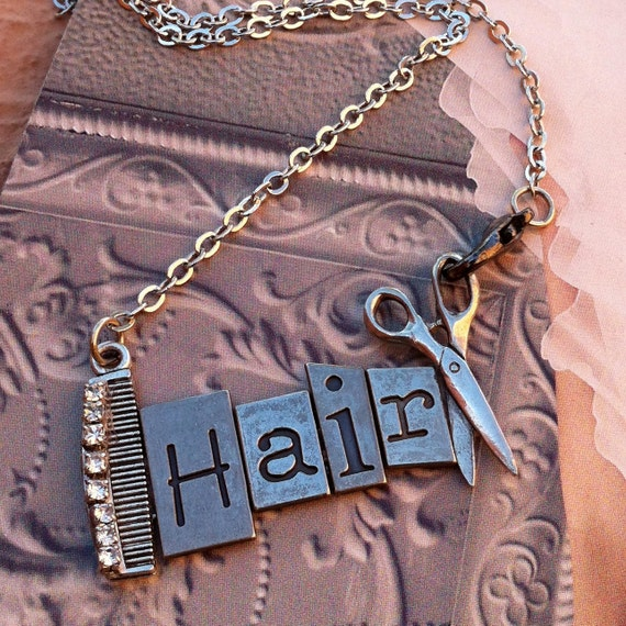HairStylist-Hair Artist Necklace-Comb-Shears-Bohemian Gypsy Style