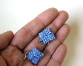Eco-Happy Earrings - Security Envelopes - Bright Blue, Cyan