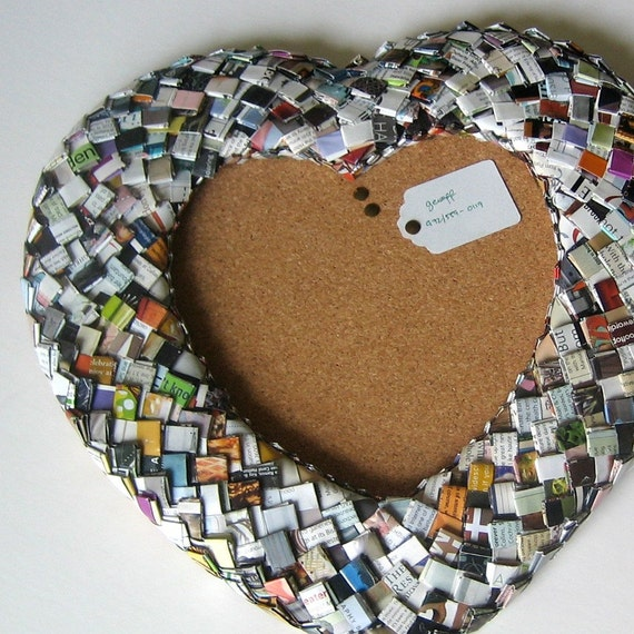 SALE Eco Friendly Heart-Shaped Cork Board Embellished with Rescued Paper Bits