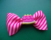 Pink Cake Striped Hair Bow