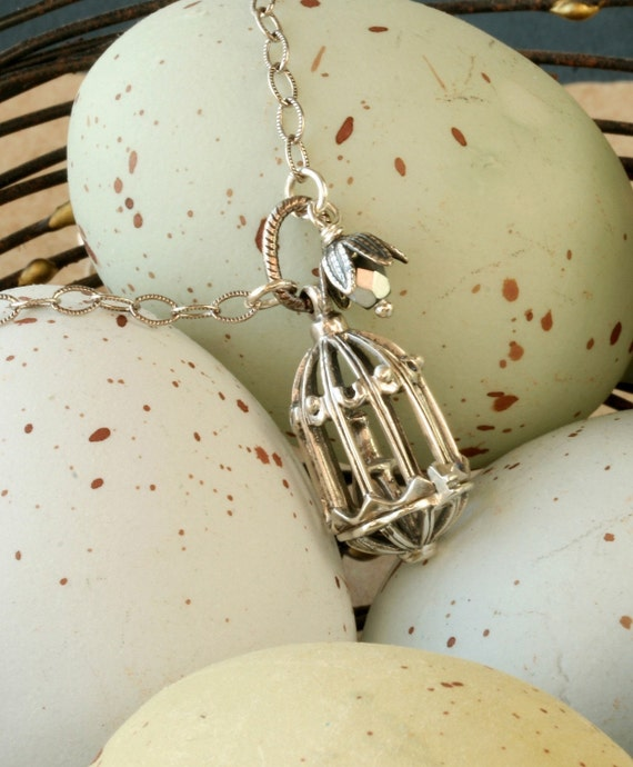 Sterling Silver Bird Cage Necklace Bird Necklace Bird Jewelry Bird Pendant Bird Jewellery Birdcage Necklace Silver Bird Necklace Bird Charm