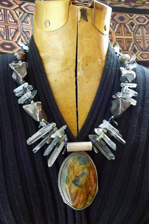 Goddess Sized Labradorite pendant, sterling silver, Rough Cut Crystals necklace