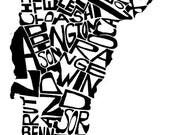 Vermont - typography map ...