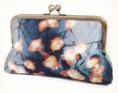 Clutch bag, printed silk purse, woodland wedding, bridesmaid gift, FOREST LIGHTS
