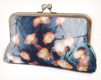 Fairy lights clutch bag, blue and orange silk purse, woodland wedding, bridesmaid gift, FOREST LIGHTS