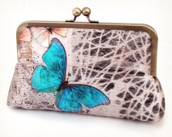 Blue butterfly clutch purse, silk wedding bag, butterflies bridesmaid gift, MORPHOS BUTTERFLY